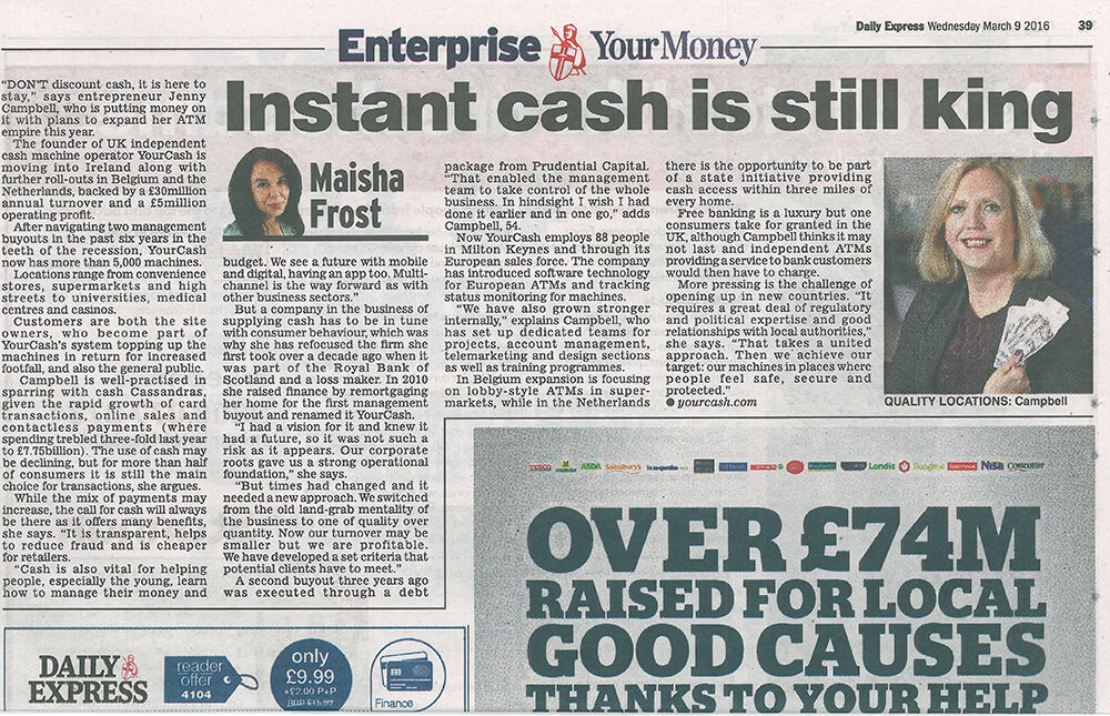 Daily Express Article ATM machine operator helps cash hold its ground