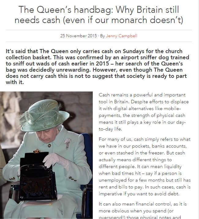 The Queen's handbag: Why Britain still needs cash
